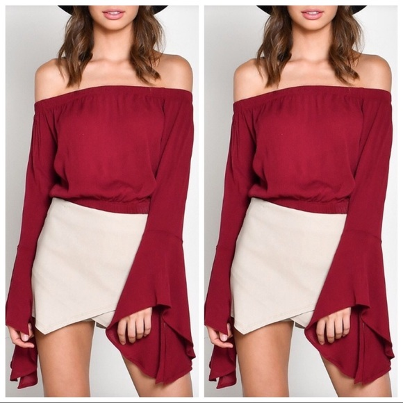 7acc0b85a01cfc Burgundy Off Shoulder Bell Sleeve Crop Top